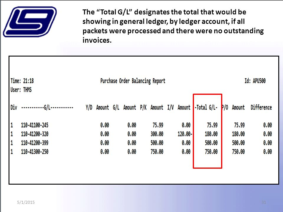 31 The Total G/L designates the total that would be showing in general ledger, by ledger account, if all packets were processed and there were no outstanding invoices.