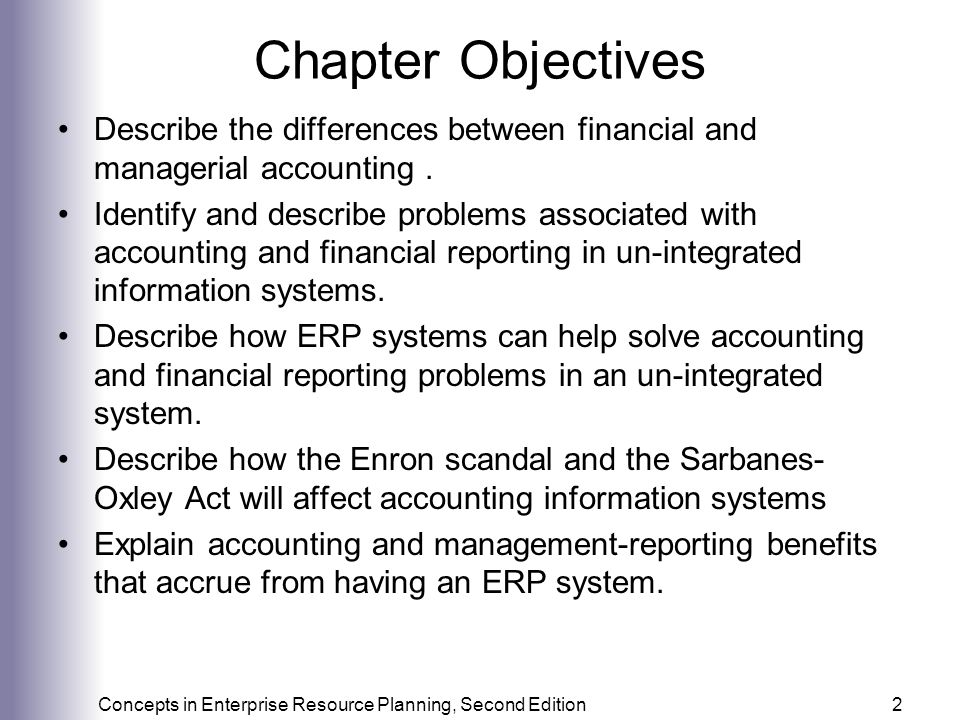 Concepts in Enterprise Resource Planning, Second Edition33 Enron Collapse Arthur Andersen was indicted for, among other things, the destruction of Enron documents in the face of an SEC investigation As a result of the Enron collapse: Enron's 20,000 creditors will receive approximately 20% of the $63 billion they are owed Shareholders will receive nothing Many employees invested large sums of money in Enron stock via 401K savings plans Arthur Andersen, once a firm with 28,000 employees, has been all but dismantled 31 individuals either have been tried or will be tried on criminal charges The Sarbanes-Oxley Act was passed