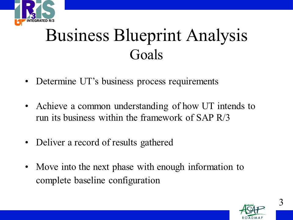 4 Business Blueprint Analysis Tools Business Process Questions (by process) –Standard questions regarding UT's organizational structure, processes and business needs Detailed Workshops –Meetings with key users to discuss business processes and business needs Customer Input Templates –high level summary of Processes Business Process Transaction –Business Process Master List (BPML)