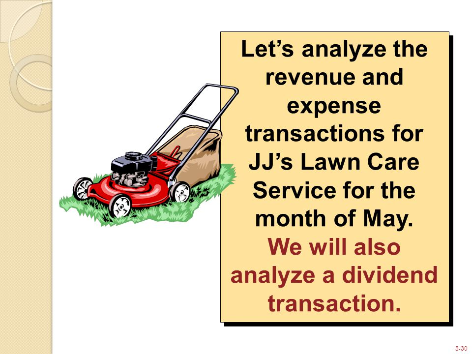 3-30 Let's analyze the revenue and expense transactions for JJ's Lawn Care Service for the month of May.