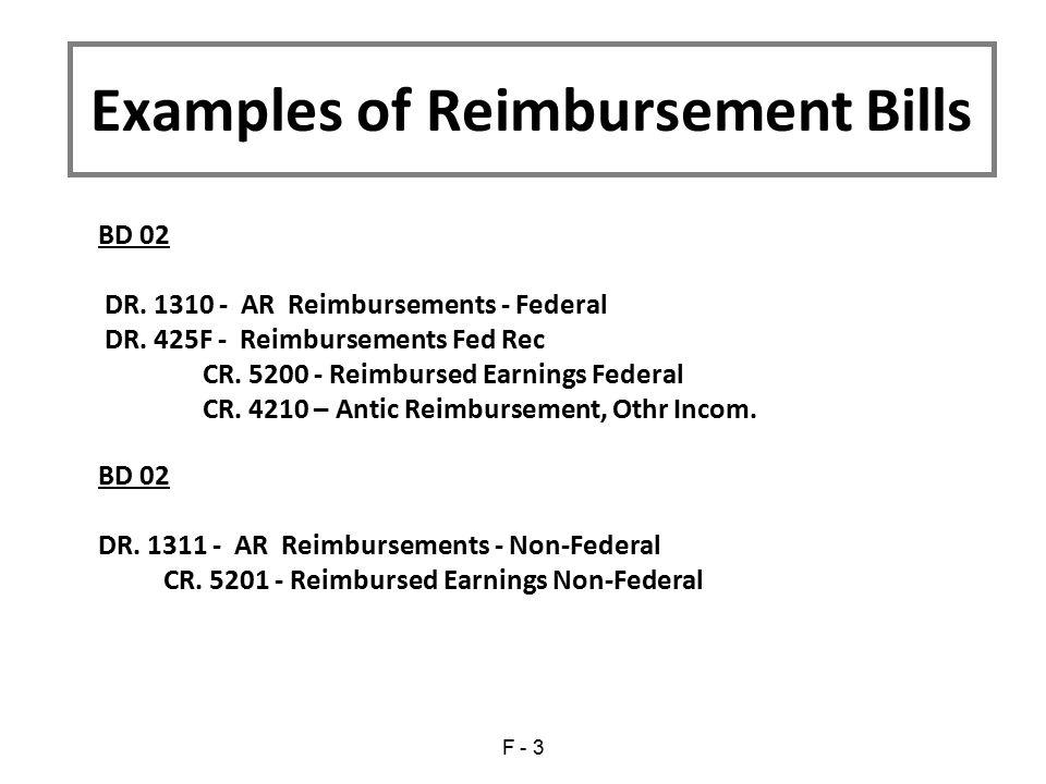 BD 02 DR. 1310 - AR Reimbursements - Federal DR. 425F - Reimbursements Fed Rec CR. 5200 - Reimbursed Earnings Federal CR. 4210 – Antic Reimbursement,