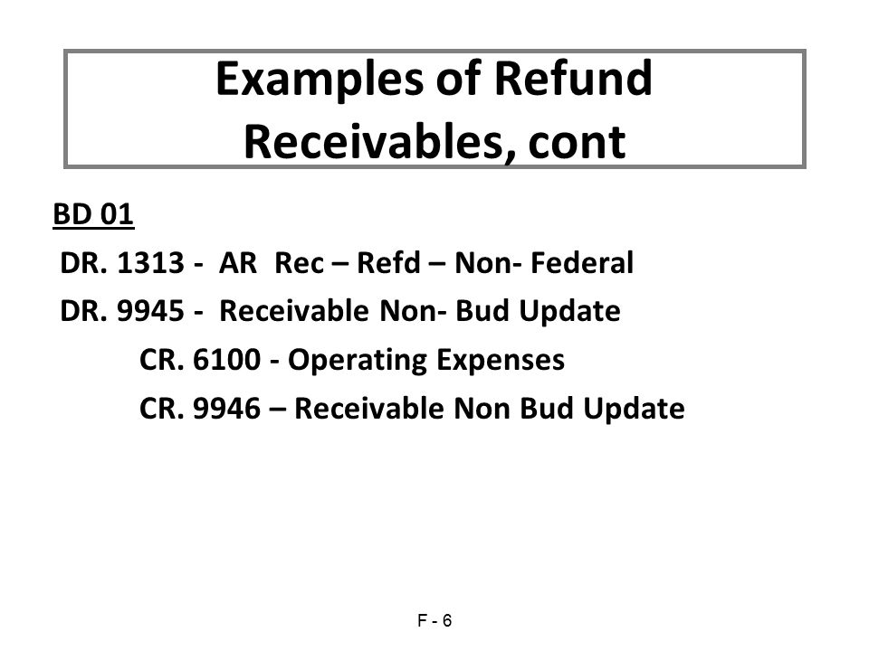 BD 01 DR.1313 - AR Rec – Refd – Non- Federal DR. 9945 - Receivable Non- Bud Update CR.