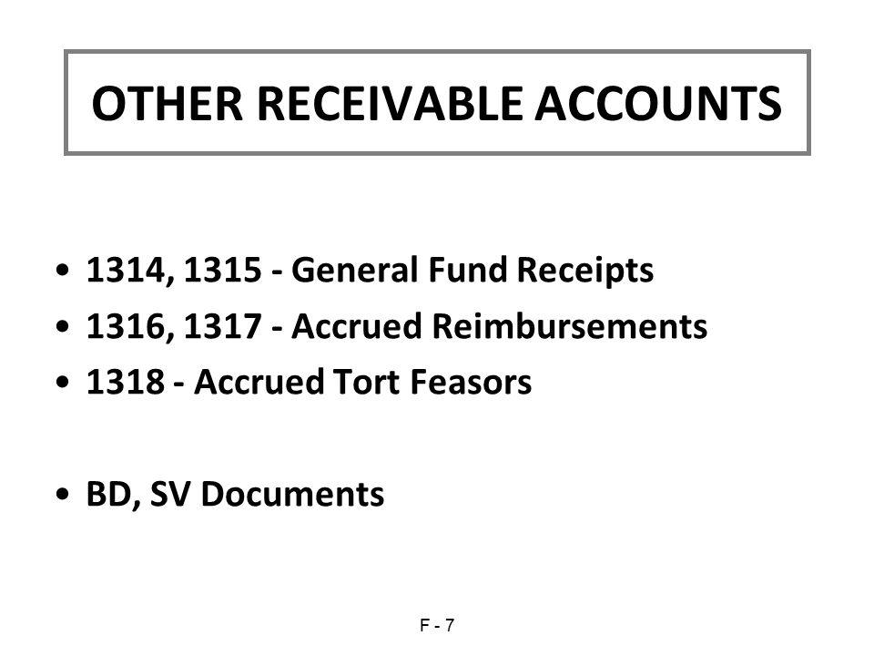 1314, 1315 - General Fund Receipts 1316, 1317 - Accrued Reimbursements 1318 - Accrued Tort Feasors BD, SV Documents OTHER RECEIVABLE ACCOUNTS F - 7
