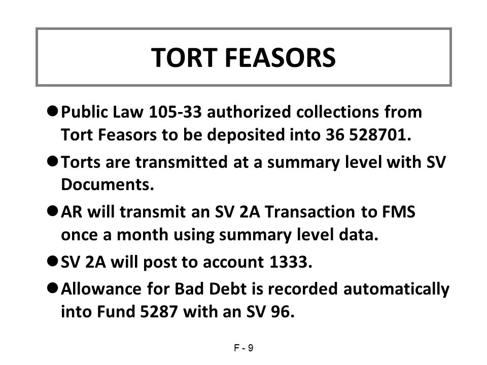 Public Law 105-33 authorized collections from Tort Feasors to be deposited into 36 528701.