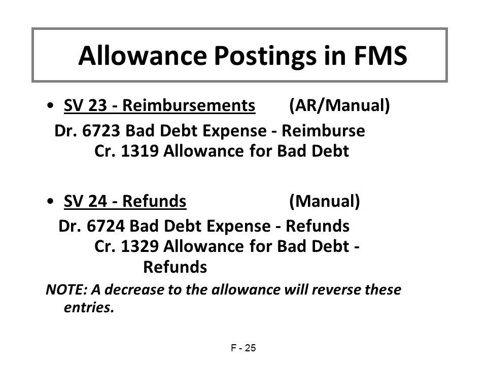 SV 23 - Reimbursements(AR/Manual) Dr. 6723 Bad Debt Expense - Reimburse Cr. 1319 Allowance for Bad Debt SV 24 - Refunds(Manual) Dr. 6724 Bad Debt Expe