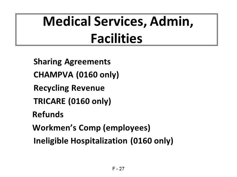 Sharing Agreements CHAMPVA (0160 only) Recycling Revenue TRICARE (0160 only) Refunds Workmen's Comp (employees) Ineligible Hospitalization (0160 only) Medical Services, Admin, Facilities F - 27