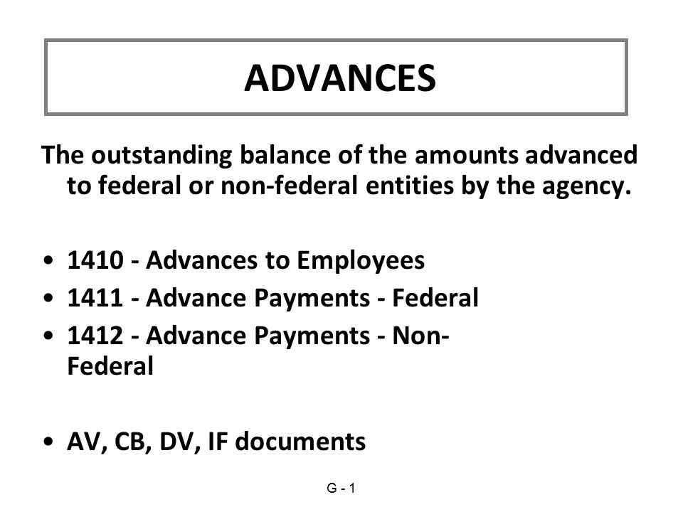The outstanding balance of the amounts advanced to federal or non-federal entities by the agency.