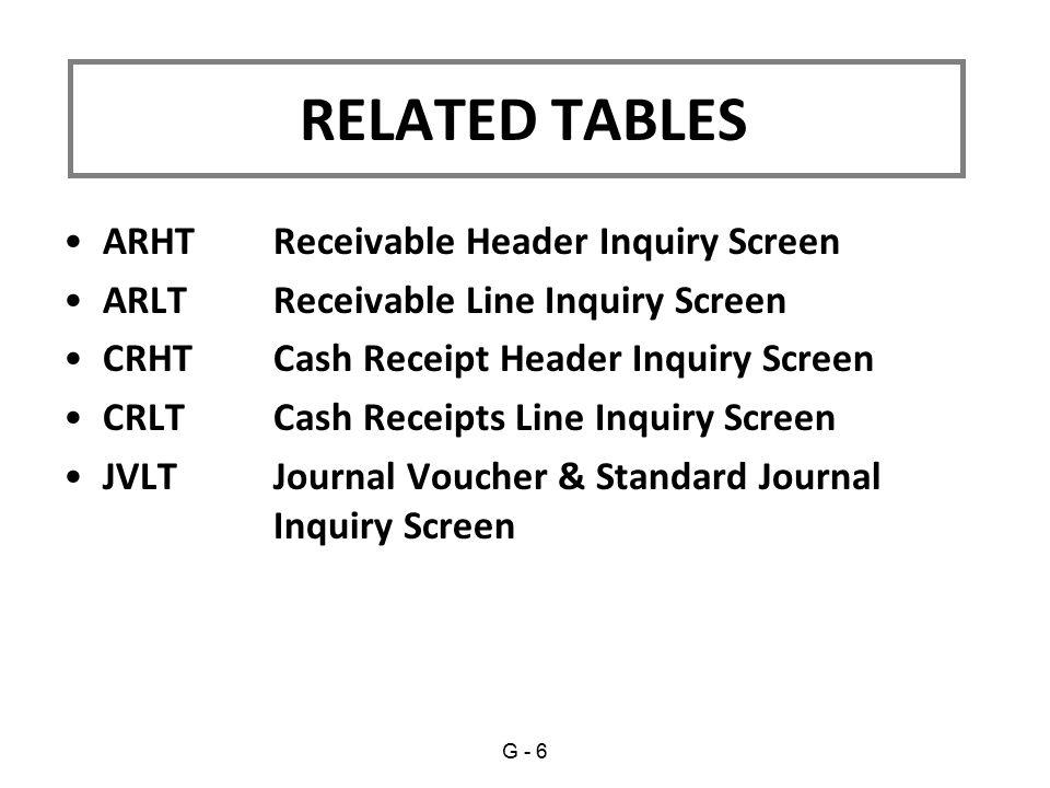 ARHT Receivable Header Inquiry Screen ARLT Receivable Line Inquiry Screen CRHT Cash Receipt Header Inquiry Screen CRLT Cash Receipts Line Inquiry Scre
