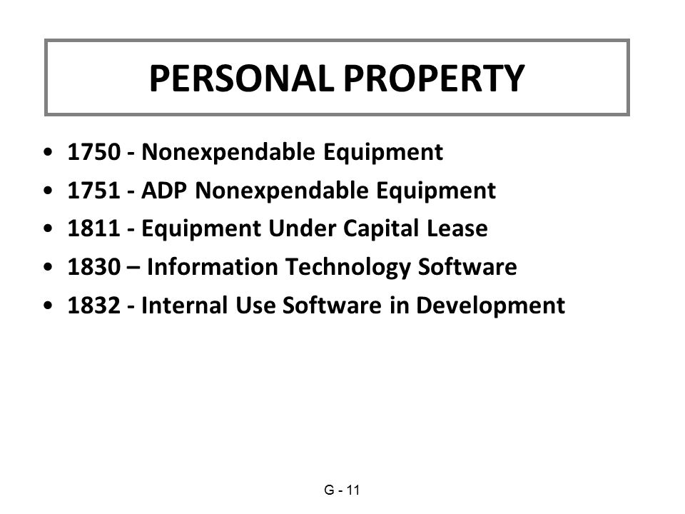 1750 - Nonexpendable Equipment 1751 - ADP Nonexpendable Equipment 1811 - Equipment Under Capital Lease 1830 – Information Technology Software 1832 - Internal Use Software in Development PERSONAL PROPERTY G - 11