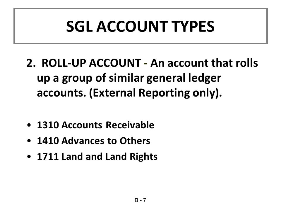 2.ROLL-UP ACCOUNT - An account that rolls up a group of similar general ledger accounts.