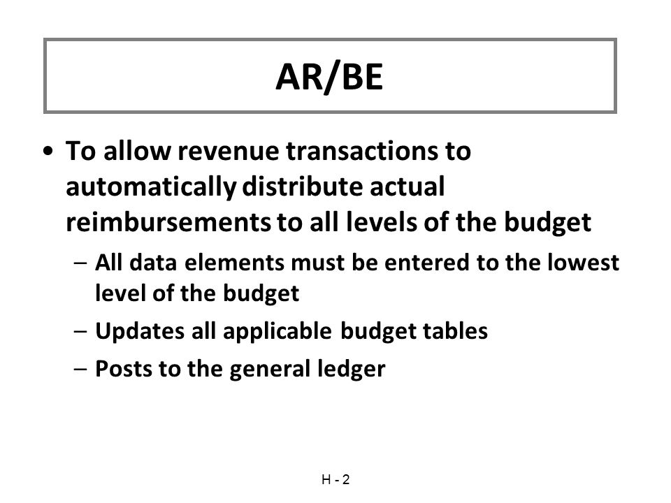 To allow revenue transactions to automatically distribute actual reimbursements to all levels of the budget –All data elements must be entered to the lowest level of the budget –Updates all applicable budget tables –Posts to the general ledger AR/BE H - 2
