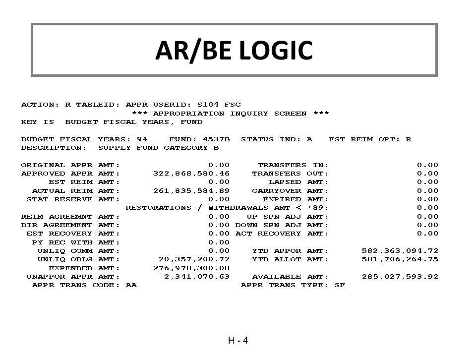 H - 4 AR/BE LOGIC