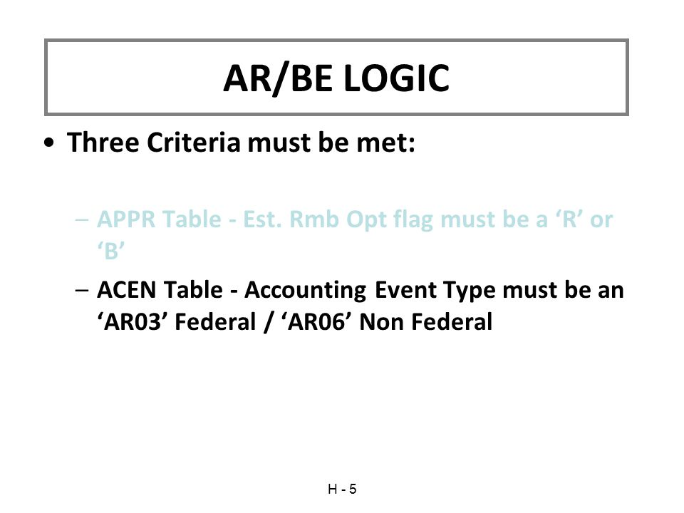 Three Criteria must be met: –APPR Table - Est. Rmb Opt flag must be a 'R' or 'B' –ACEN Table - Accounting Event Type must be an 'AR03' Federal / 'AR06