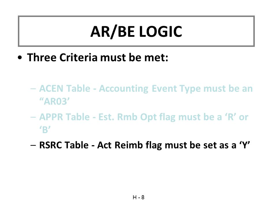 Three Criteria must be met: –ACEN Table - Accounting Event Type must be an AR03' –APPR Table - Est.
