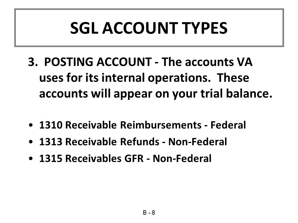 3.POSTING ACCOUNT - The accounts VA uses for its internal operations.