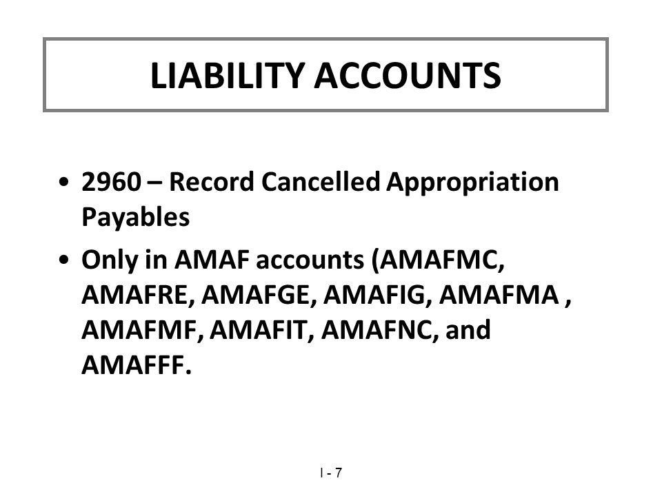 2960 – Record Cancelled Appropriation Payables Only in AMAF accounts (AMAFMC, AMAFRE, AMAFGE, AMAFIG, AMAFMA, AMAFMF, AMAFIT, AMAFNC, and AMAFFF. LIAB