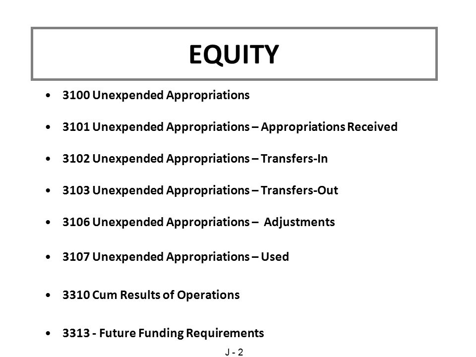3100 Unexpended Appropriations 3101 Unexpended Appropriations – Appropriations Received 3102 Unexpended Appropriations – Transfers-In 3103 Unexpended Appropriations – Transfers-Out 3106 Unexpended Appropriations – Adjustments 3107 Unexpended Appropriations – Used 3310 Cum Results of Operations 3313 - Future Funding Requirements EQUITY J - 2
