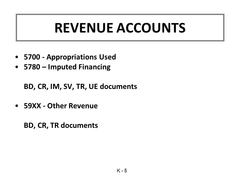 5700 - Appropriations Used 5780 – Imputed Financing BD, CR, IM, SV, TR, UE documents 59XX - Other Revenue BD, CR, TR documents REVENUE ACCOUNTS K - 5