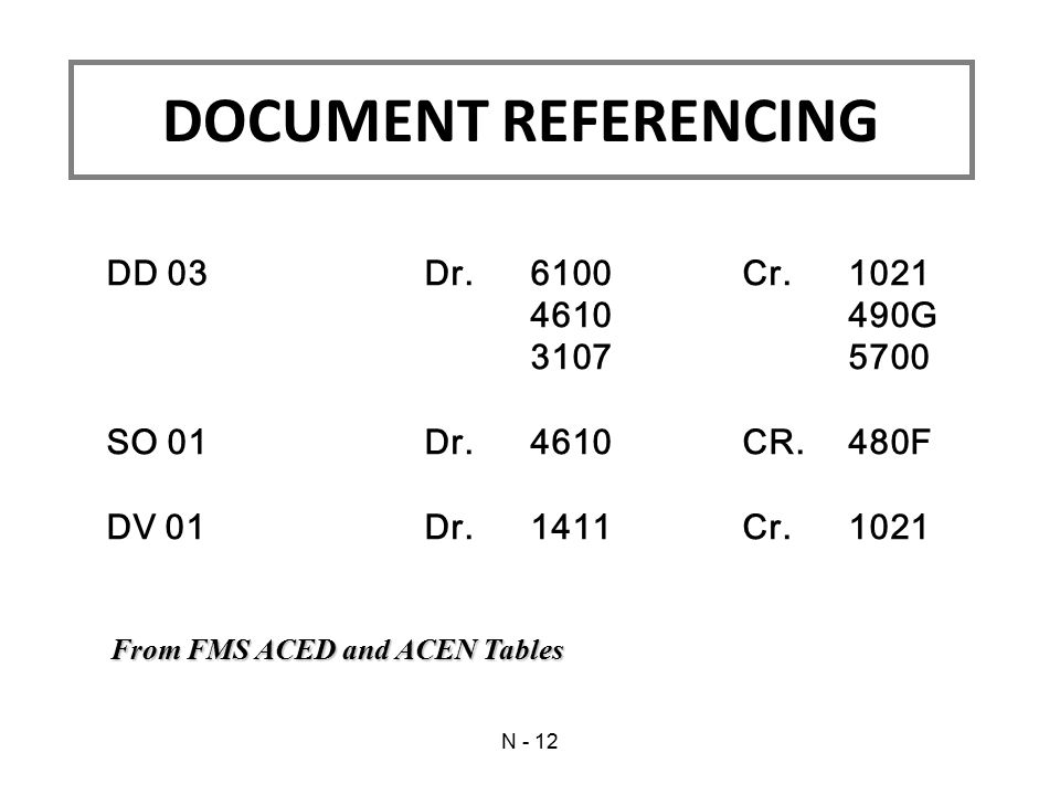 DD 03Dr.6100Cr.1021 4610490G 31075700 SO 01Dr.4610CR.480F DV 01Dr.1411Cr.1021 From FMS ACED and ACEN Tables DOCUMENT REFERENCING N - 12