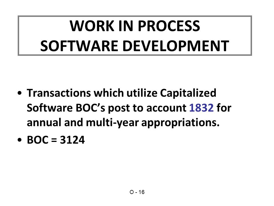 Transactions which utilize Capitalized Software BOC's post to account 1832 for annual and multi-year appropriations.