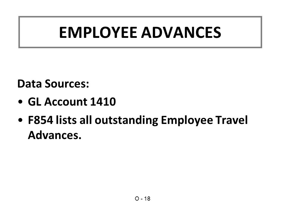 Data Sources: GL Account 1410 F854 lists all outstanding Employee Travel Advances.
