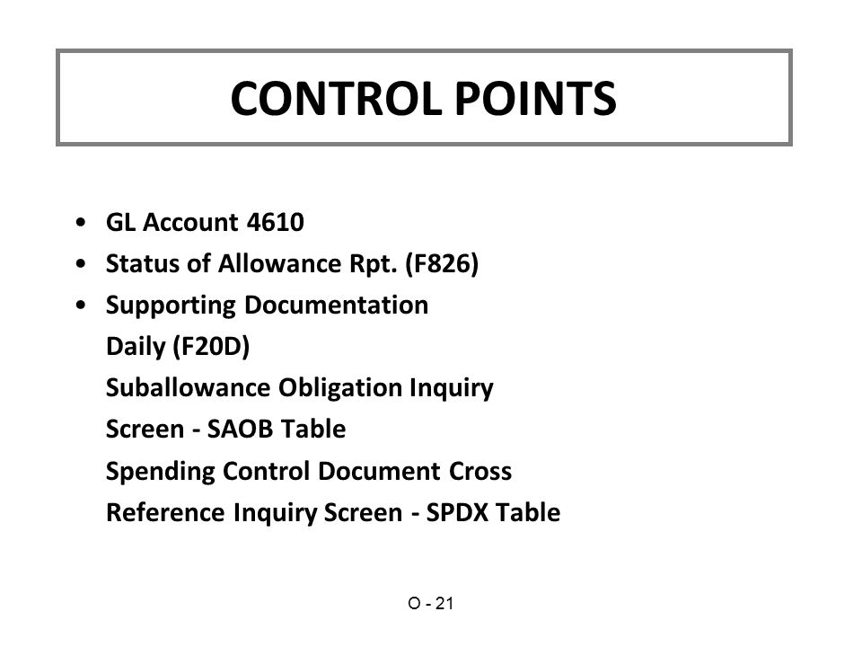 GL Account 4610 Status of Allowance Rpt. (F826) Supporting Documentation Daily (F20D) Suballowance Obligation Inquiry Screen - SAOB Table Spending Con