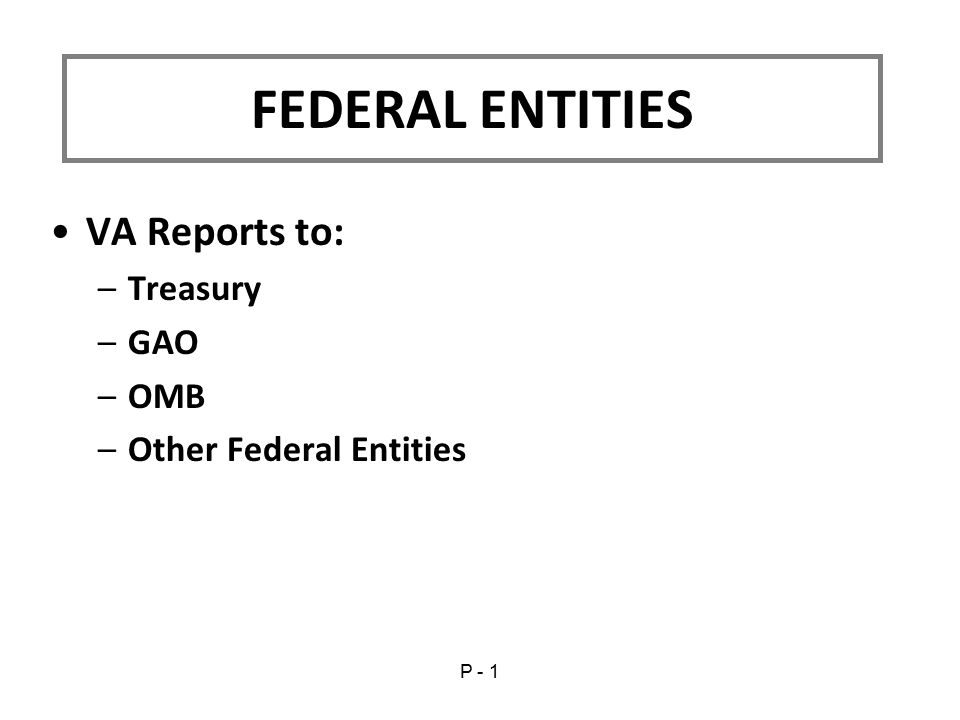 VA Reports to: –Treasury –GAO –OMB –Other Federal Entities FEDERAL ENTITIES P - 1