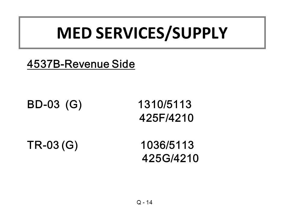 4537B-Revenue Side BD-03 (G) 1310/5113 425F/4210 TR-03 (G) 1036/5113 425G/4210 MED SERVICES/SUPPLY Q - 14