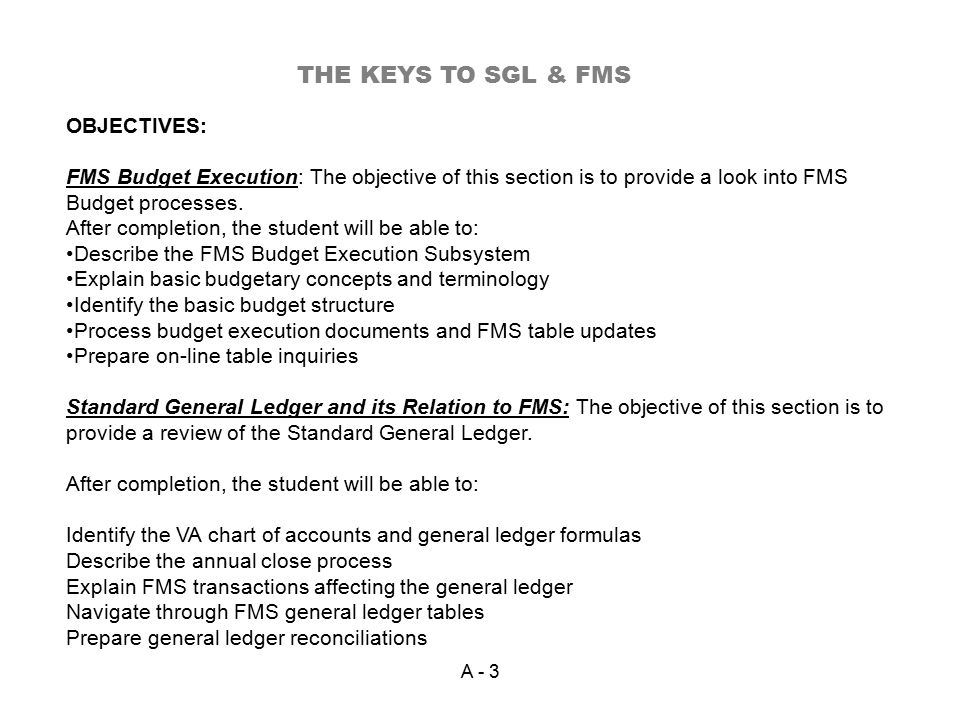 OBJECTIVES: FMS Budget Execution: The objective of this section is to provide a look into FMS Budget processes.