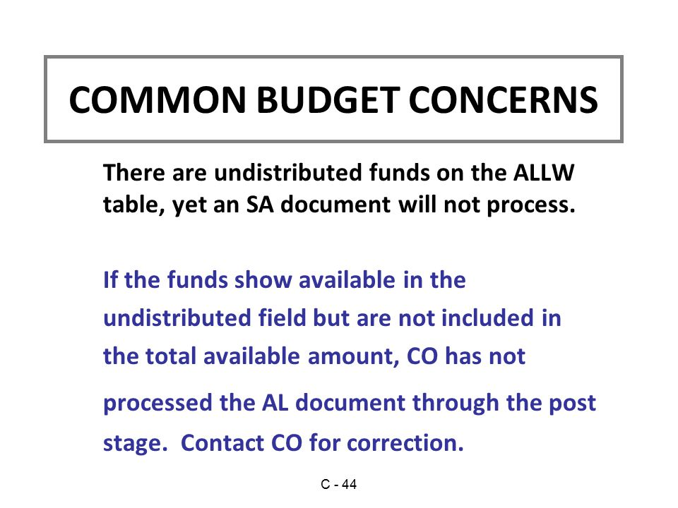 There are undistributed funds on the ALLW table, yet an SA document will not process.