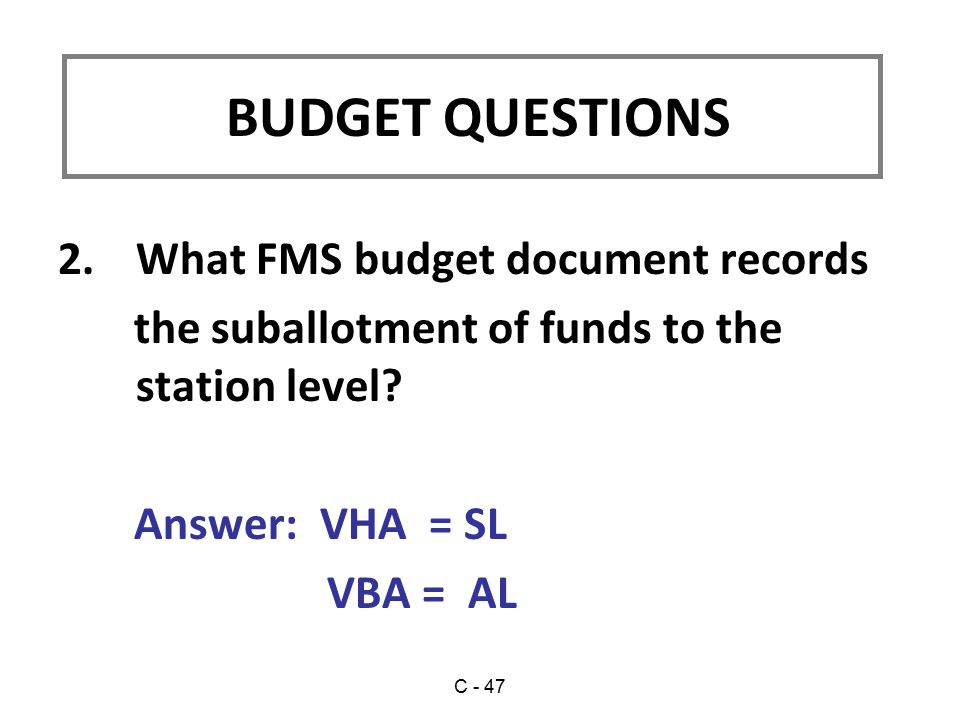 2.What FMS budget document records the suballotment of funds to the station level.