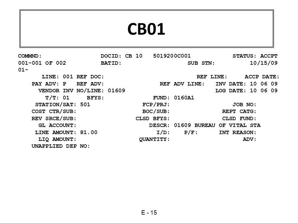 COMMND: DOCID: CB 10 5019200C001 STATUS: ACCPT 001-001 OF 002 BATID: SUB STN: 10/15/09 01- LINE: 001 REF DOC: REF LINE: ACCP DATE: PAY ADV: P REF ADV:
