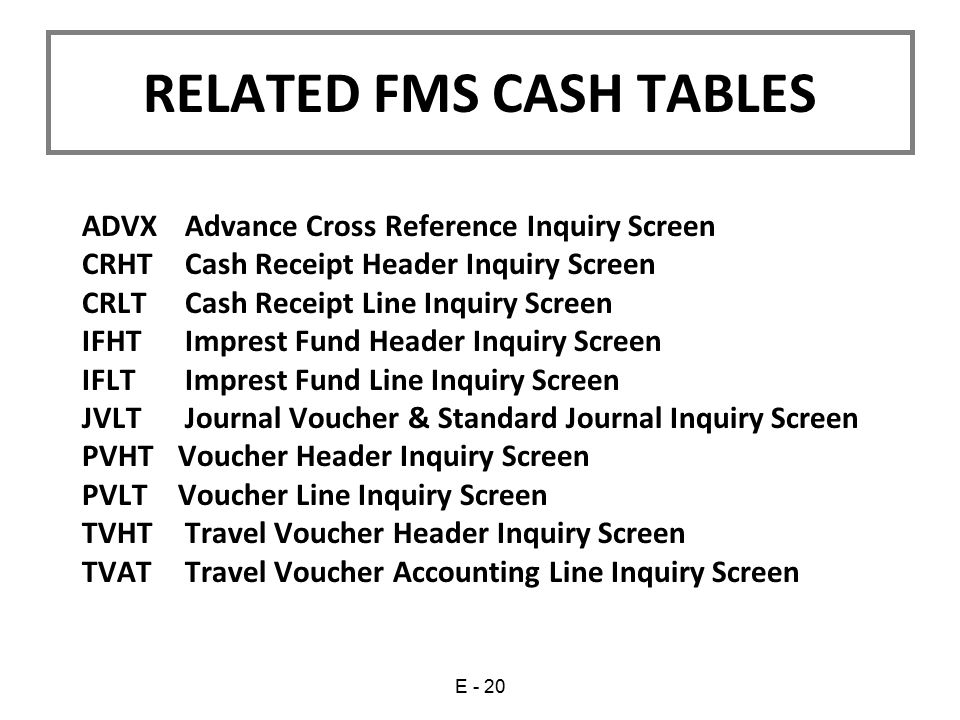 ADVX Advance Cross Reference Inquiry Screen CRHT Cash Receipt Header Inquiry Screen CRLT Cash Receipt Line Inquiry Screen IFHT Imprest Fund Header Inq