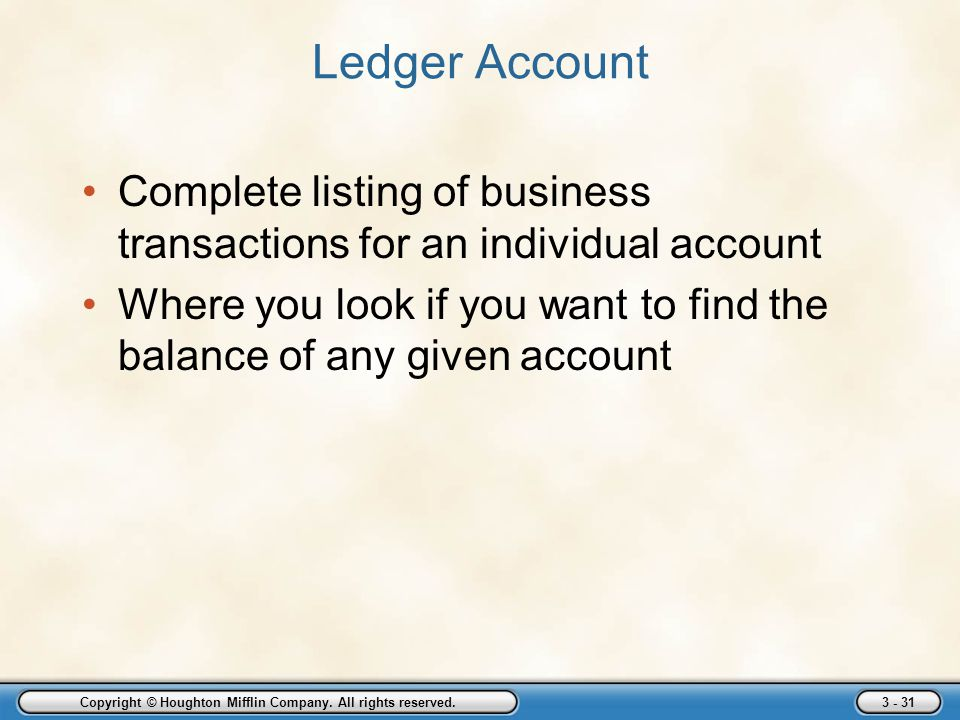 Copyright © Houghton Mifflin Company. All rights reserved. 3 - 31 Ledger Account Complete listing of business transactions for an individual account W