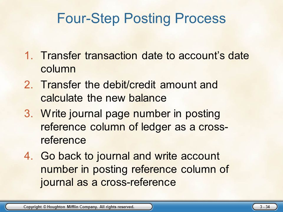 Copyright © Houghton Mifflin Company. All rights reserved. 3 - 34 Four-Step Posting Process 1.Transfer transaction date to account's date column 2.Tra