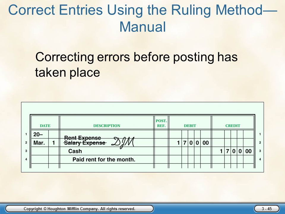 Copyright © Houghton Mifflin Company. All rights reserved. 3 - 45 Correct Entries Using the Ruling Method— Manual Correcting errors before posting has