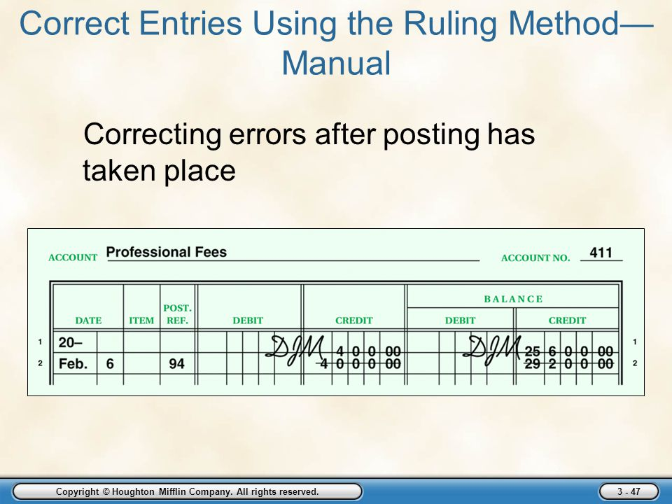 Copyright © Houghton Mifflin Company. All rights reserved. 3 - 47 Correct Entries Using the Ruling Method— Manual Correcting errors after posting has