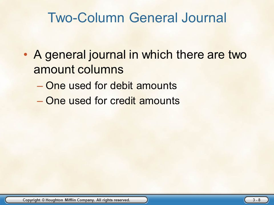 Copyright © Houghton Mifflin Company. All rights reserved. 3 - 8 Two-Column General Journal A general journal in which there are two amount columns –O