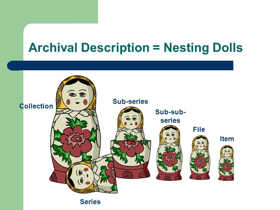 Archival Description = Nesting Dolls Collection Sub-series Sub-sub- series File Item Series