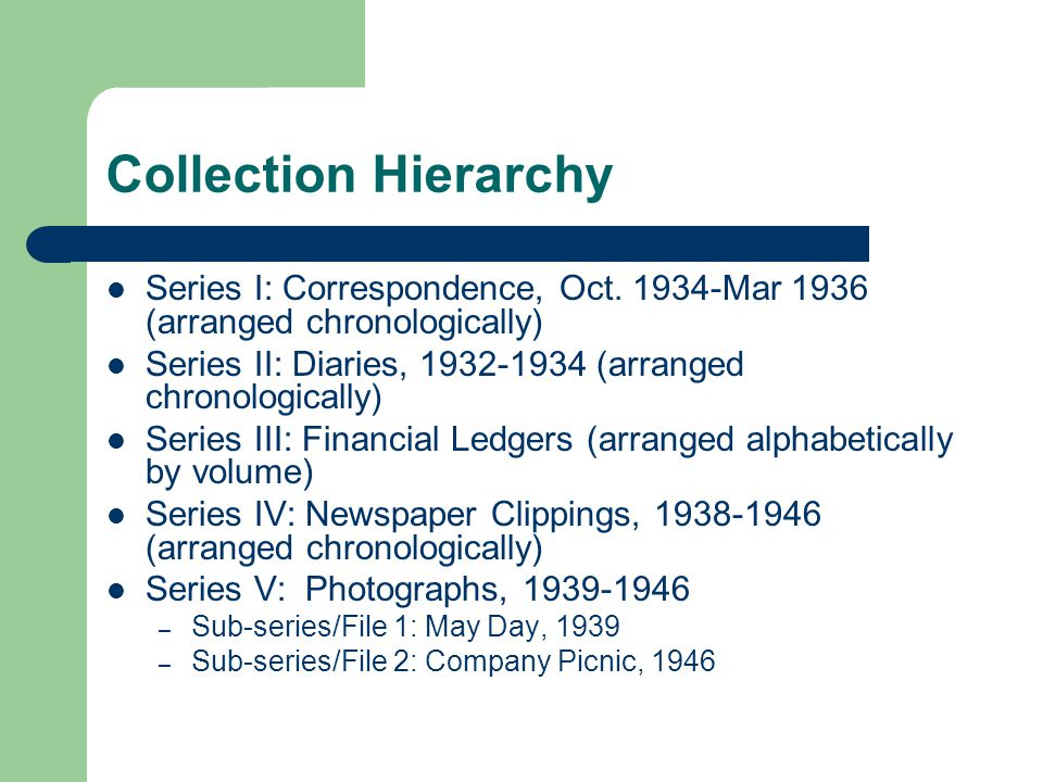 Collection Hierarchy Series I: Correspondence, Oct.