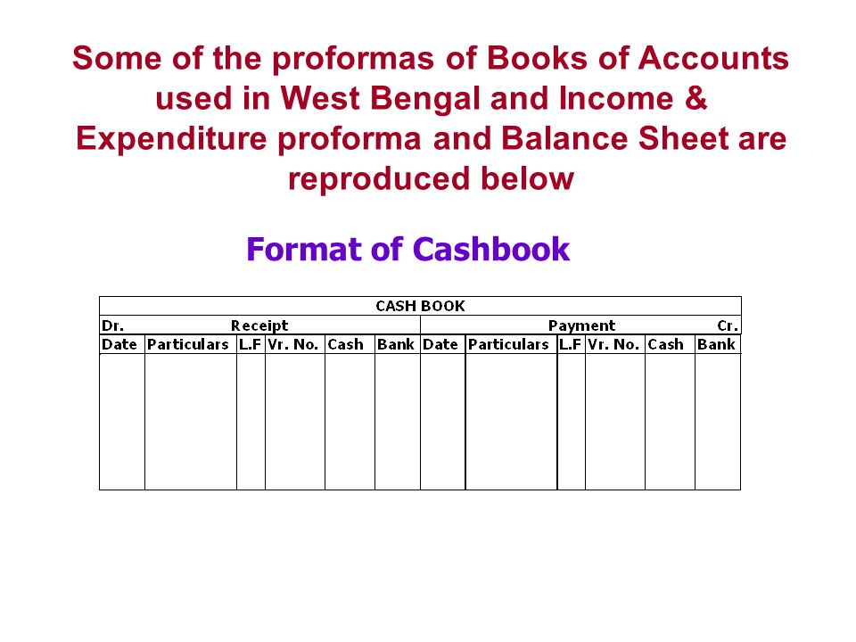 Some of the proformas of Books of Accounts used in West Bengal and Income & Expenditure proforma and Balance Sheet are reproduced below Format of Cash