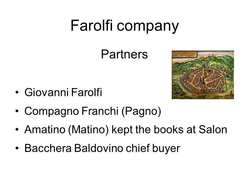 Farolfi company Partners Giovanni Farolfi Compagno Franchi (Pagno) Amatino (Matino) kept the books at Salon Bacchera Baldovino chief buyer