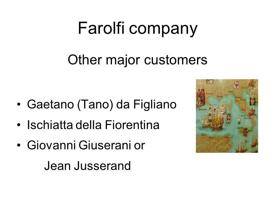 Farolfi company Other major customers Gaetano (Tano) da Figliano Ischiatta della Fiorentina Giovanni Giuserani or Jean Jusserand