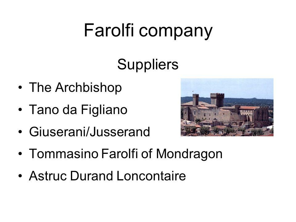 Farolfi company Suppliers The Archbishop Tano da Figliano Giuserani/Jusserand Tommasino Farolfi of Mondragon Astruc Durand Loncontaire