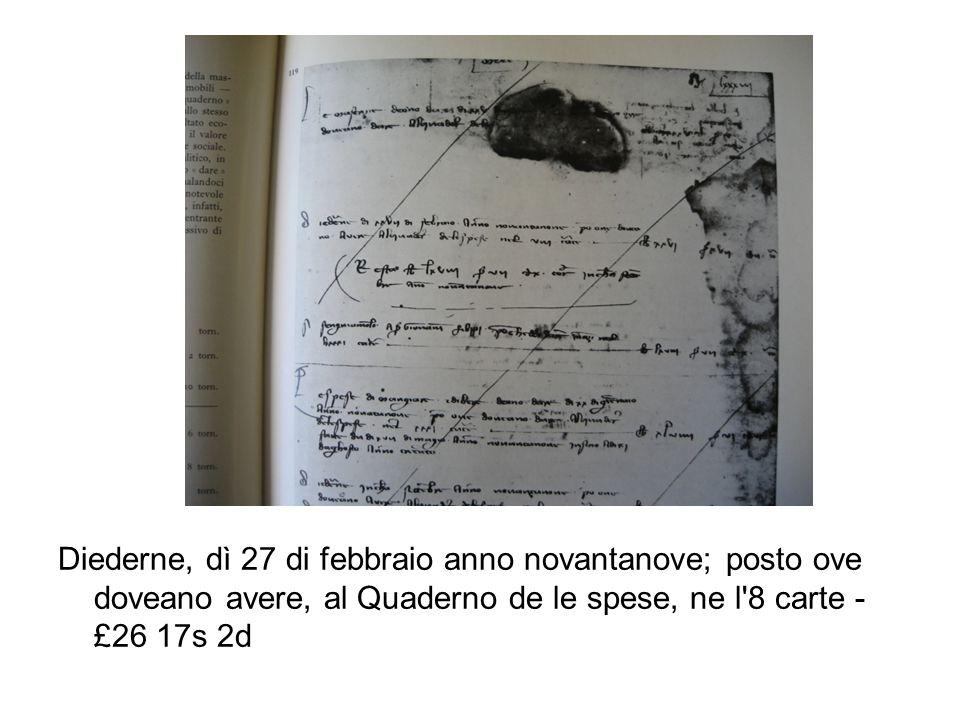 Diederne, dì 27 di febbraio anno novantanove; posto ove doveano avere, al Quaderno de le spese, ne l 8 carte - £26 17s 2d