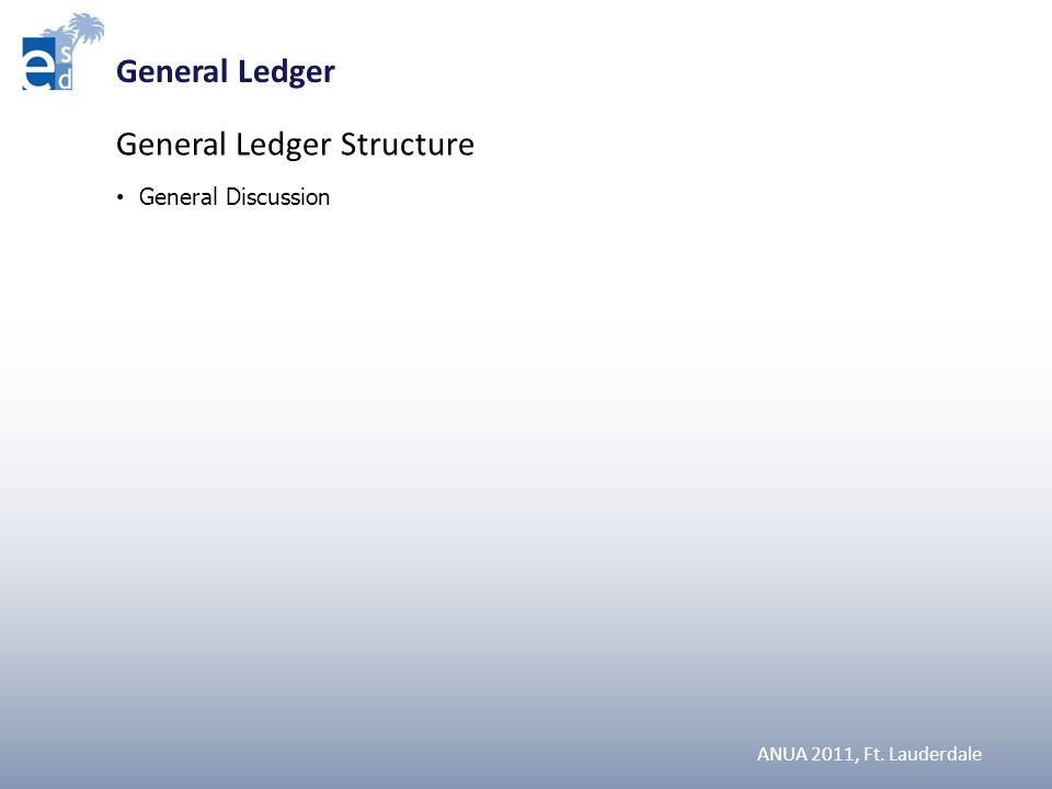 ANUA 2011, Ft. Lauderdale SLIDES General Ledger Structure General Discussion General Ledger