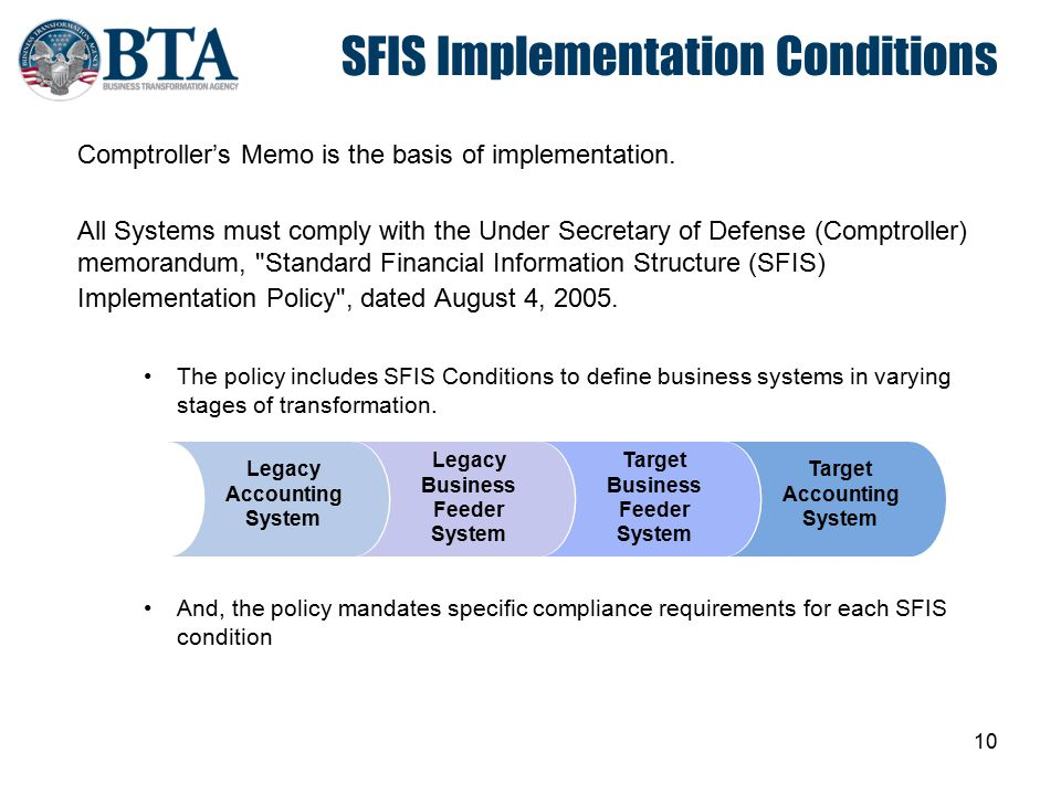 10 SFIS Implementation Conditions Comptroller's Memo is the basis of implementation. All Systems must comply with the Under Secretary of Defense (Comp