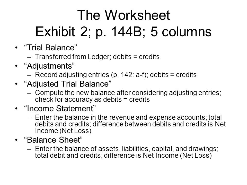 "The Worksheet Exhibit 2; p. 144B; 5 columns ""Trial Balance"" –Transferred from Ledger; debits = credits ""Adjustments"" –Record adjusting entries (p. 142"