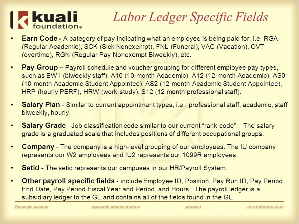 Labor Ledger Specific Fields Earn Code - A category of pay indicating what an employee is being paid for, i.e.