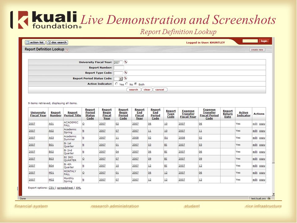 Live Demonstration and Screenshots Report Definition Lookup